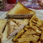 Chicken and cheese sandwich and haddock sandwich