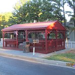 Neat outdoor gazebo. The money they spent on this gazebo could have been better spent elsewhere.