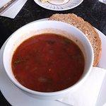 Thick tomato soup.