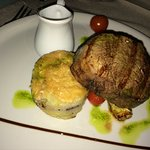 not so great picture of a great steak (peppercorn sauce in the wee jug)