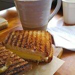 Breakfast sandwich and hot tea