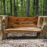 Rustic bench near parking area