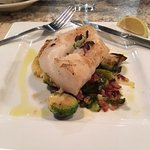 A Cod special - with Brussel Sprouts/Bacon and Spaghetti Squash
