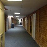 Corridor outside rooms. Air con machin noisy