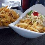 Fried battered calamari with a garden salad & chips