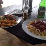 Chips and chicken + Spaghetti del mar