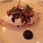Stuffed blue crab with Black Garlic Aioli
