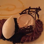 Amazing...panna cotta with ganache and ice cream.
