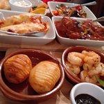 The mediterranean style dishes including prawns, chicken, salmon, ratatouille,
