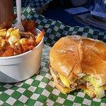 Royal burger and poutine.