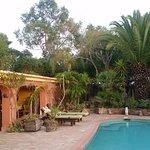 Santa Fe indoor outdoor area over looking the pool