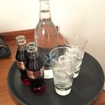 Room service charge - just under £13 for two tiny (200ml) cokes and a water!