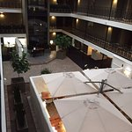View of the glass elevator, player piano and atrium from the top floor.