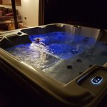 Cabin 75 hot tub with light's on