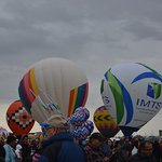 Balloons inflating and getting ready to rise