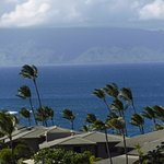 Looking from balcony across water to Molokai