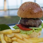 Burger from the beachside cafe