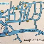 Map of Chora, the main town in Ios, Greece.