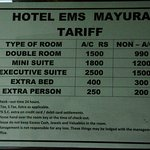 Hotel EMS Mayura's published room rates. 1,500 room with tax would be 1,800.