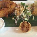 Crispy fish, close slaw, with yucca fries