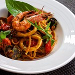Linguine Pasta with Fresh Seafood Cherry Tomatoes & Brandy Sauce