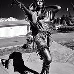 Statue of Sacagawea in Black and White
