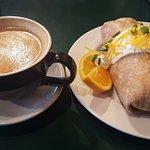 Pumpkin latte and breakfast burrito