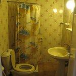 Old bathroom, peeling paint, otherwise ok