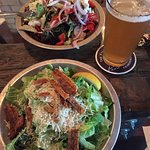 Gigantic fresh salad of local ingredients, locally crafted beer