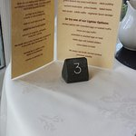 Menu and table number