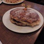 Cinnamon cream cheese pancake stack