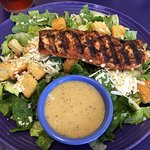 Tasty blackened salmon Caesar salad with homemade croutons. Our server, Faye was very attentive.