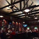Best burgers!! Beautiful barn ceiling in the historic bar!