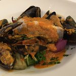 Sea Bass and curried mussels