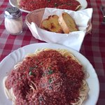 Beef ravioli and spaghetti and meatballs.