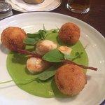 scallops with ham balls