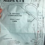 Campsite Layout; The red line is directing us from the Office to our tent campsite along the riv