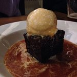 Sticky toffee pudding, ice cream and toffee sauce