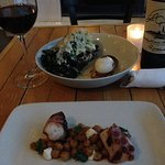 Grilled Octopus with Chickpeas & Grilled Escarole with poached egg