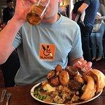 Enjoying his XXL king size Sunday lunch