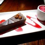 "The sublime chocolate hazelnut tart with coconut raspberry ""sherbet""."