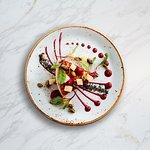 Monforte Dairy Halloumi, beet puree, black sesame dust, double apple, house grown micro greens