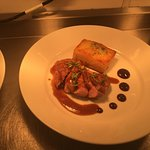Two dishes from our new menu. Duck Breast and Sea Bass