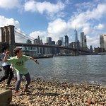 Brooklyn Bridge and Downtown Manhattan from Dumbo beach