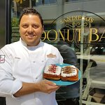 Chef Santiago with his famed Big Poppa Tart Donut