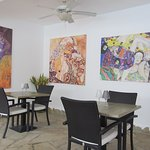 Beautiful art in the dining area.