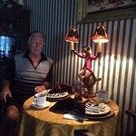 breakfast...just look at the wonderful monkey lamp