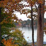 Wisconsin fall colors on the Point Hotel grounds looking at Minocqua Lake