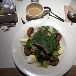 Nicoise Caesar salad with wild salmon - delicious and beautifully presented!