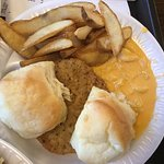 country fried steak, mac and cheese, fries